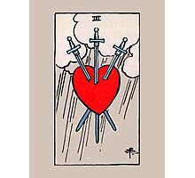 Three of Swords Tarot Card  Photographic Print