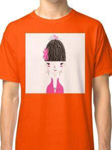 Beautiful Japan Girl stylized vector Illustration Classic T-Shirt