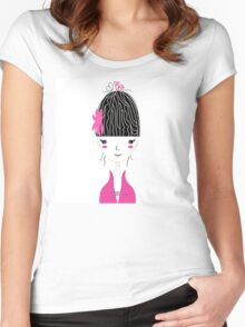 Beautiful Japan Girl stylized vector Illustration Women's Fitted Scoop T-Shirt
