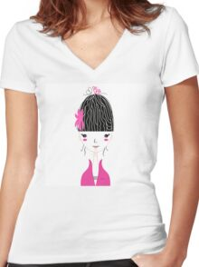 Beautiful Japan Girl stylized vector Illustration Women's Fitted V-Neck T-Shirt