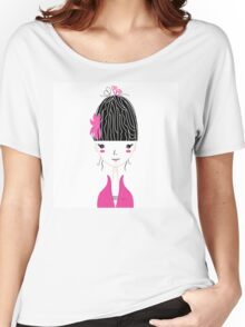Beautiful Japan Girl stylized vector Illustration Women's Relaxed Fit T-Shirt