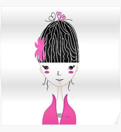 Beautiful Japan Girl stylized vector Illustration Poster