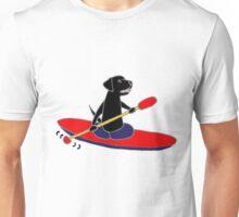 Cool Funny Black Labrador Retriever Kayakaking Unisex T-Shirt