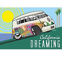 VW T1 cartoon California dreaming Photographic Print