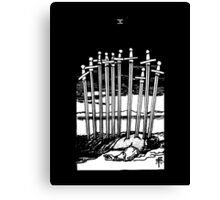 Black and White Ten of Swords Tarot Card Canvas Print