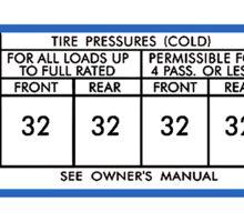 67 barracuda tire pressure Sticker