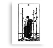 Black and White Three of Wands Tarot Card  Canvas Print