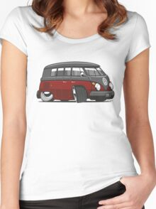 VW T1 Microbus cartoon black/red Women's Fitted Scoop T-Shirt