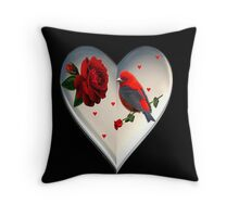 THE HEART HOLDS THE LOVE OF A BIRD AND A ROSE THROW PILLOW Throw Pillow