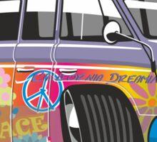VW split-screen magic bus cartoon Sticker