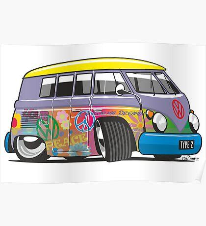 VW split-screen magic bus cartoon Poster