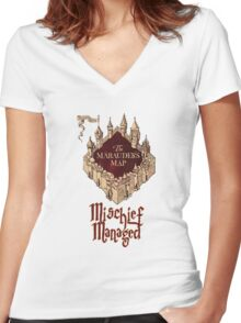 Marauders' Map Women's Fitted V-Neck T-Shirt