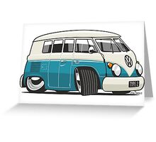 VW T1 Microbus cartoon turquoise Greeting Card