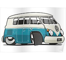 VW T1 Microbus cartoon turquoise Poster