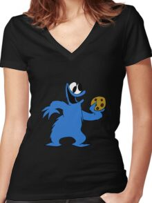 Cookie Monster with cookie Women's Fitted V-Neck T-Shirt