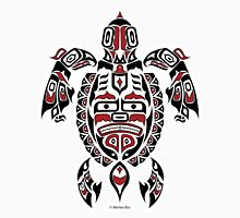 The Traveler - Original Haida, Tlingit Sea Turtle Art - Red Unisex T-Shirt