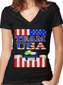 Team USA Rio 2016 Olympics Women's Fitted V-Neck T-Shirt