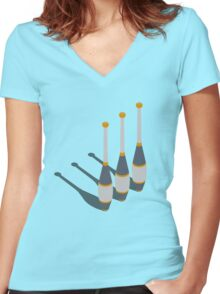 Minimal Juggling Props Clubs - Tshirt Women's Fitted V-Neck T-Shirt