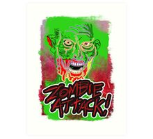 Funky Zombie Attack Art Print