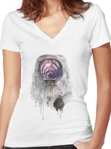 astronout bass head Women's Fitted V-Neck T-Shirt