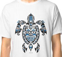 The Traveler - Original Haida, Tlingit Sea Turtle Art - Blue Classic T-Shirt