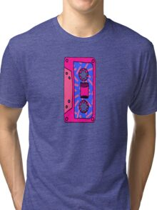Retro 80's 90's Neon Patterned Cassette Tapes Tri-blend T-Shirt