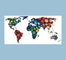 Map of The World 1 -Colorful Abstract Art Kids Tee