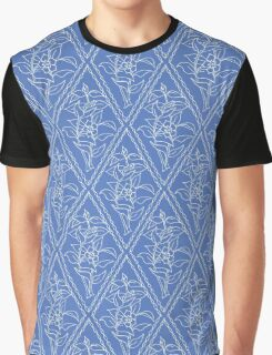 Chic Periwinkle Blue Floral Diamond Pattern Graphic T-Shirt