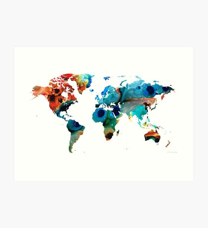 Map of The World 6 -Colorful Abstract Art Art Print