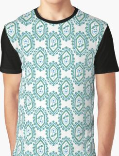 Chic Blue White Green Vintage Periwinkle Floral Pattern Graphic T-Shirt