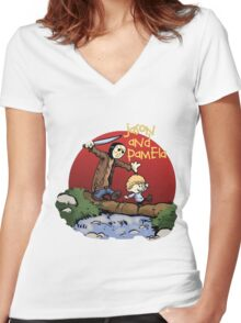 calvin and hobbes meets jason Women's Fitted V-Neck T-Shirt