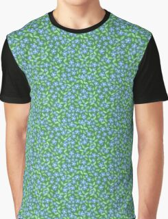 Pretty Ditsy Blue Green Periwinkle Flowers Graphic T-Shirt
