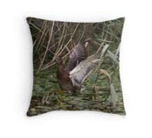 Duck flapping Throw Pillow