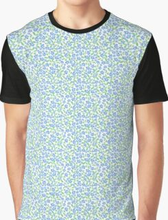 Pretty Ditsy Blue Green White Periwinkle Flowers Graphic T-Shirt