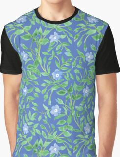 Country-style Blue Green Floral Periwinkle Pattern Graphic T-Shirt