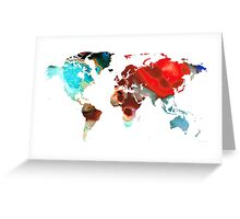 Map of The World 5 -Colorful Abstract Art Greeting Card