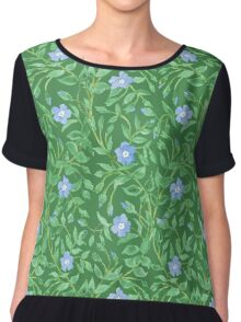 Country-style Blue Green Floral Periwinkle Pattern Chiffon Top