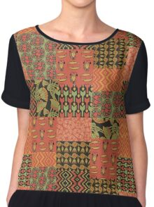 Egyptian Patterns Faux Patchwork Chiffon Top