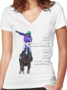 Go Chrome or Go Home Women's Fitted V-Neck T-Shirt