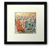 Robot vs. Squid Framed Print