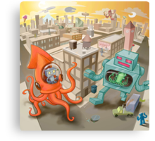 Robot vs. Squid Canvas Print