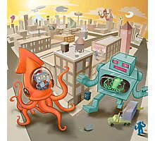 Robot vs. Squid Photographic Print