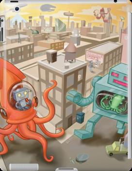 Robot vs. Squid by Nate Bear