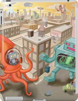 Robot vs. Squid by Nate Bear