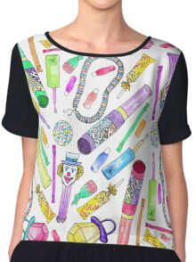 Neon 80's 90's Retro Funny Candy Pattern Chiffon Top
