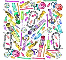 Neon 80's 90's Retro Funny Candy Pattern Photographic Print