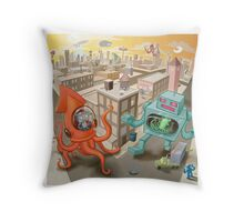 Robot vs. Squid Throw Pillow