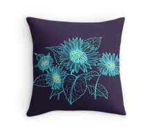 Teal Sunflowers Throw Pillow