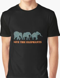 Save the Elephants Paisley Pattern Graphic T-Shirt