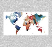 Map of The World 8 -Colorful Abstract Art One Piece - Long Sleeve